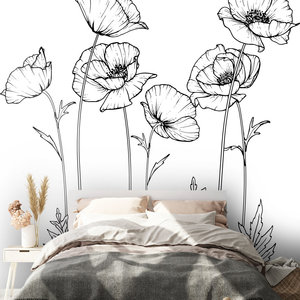 Daring Walls Muurstickers Flower drawing Poppy's-1