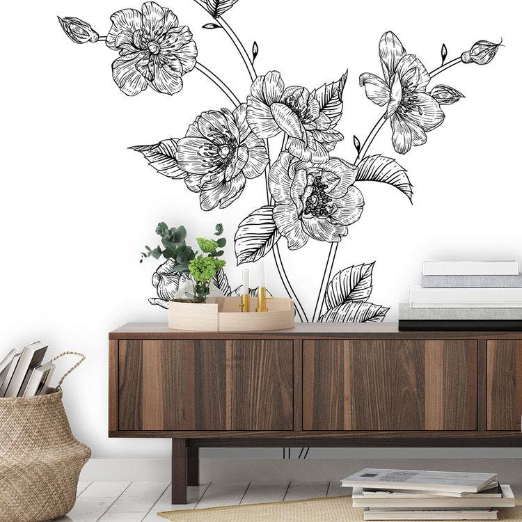 Daring Walls Muurstickers Flower drawing Roses-1