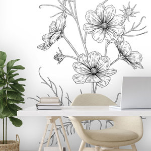 Daring Walls Muurstickers Flower drawing Cosmea-1