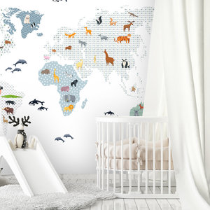 Daring Walls Muurstickers World Map animals - blue