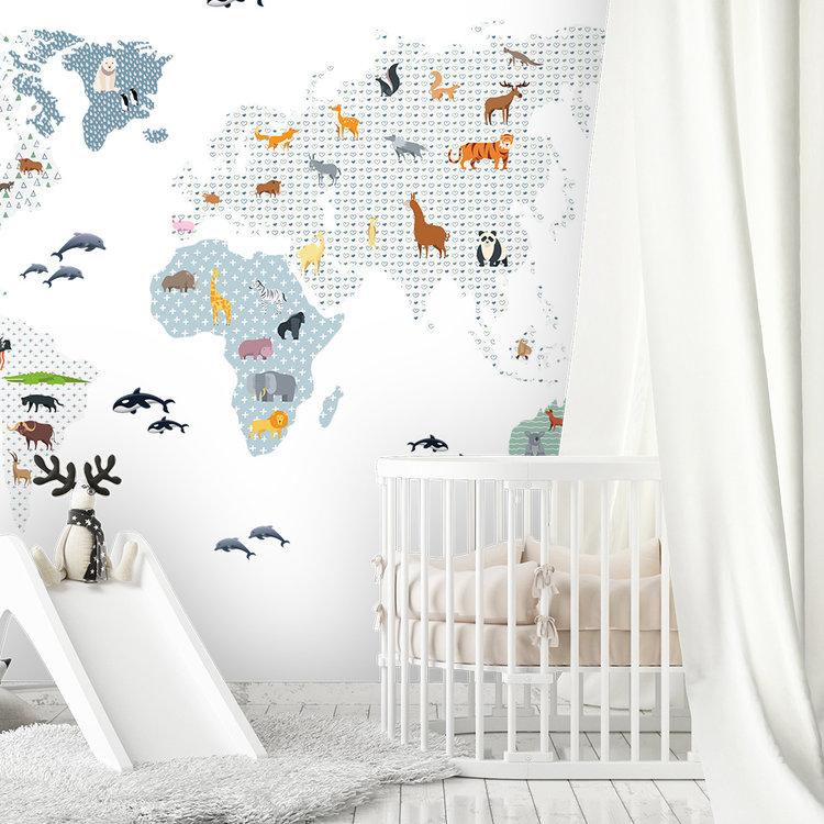 Daring Walls Muurstickers World Map animals - blue