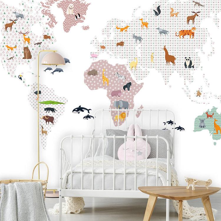 Daring Walls Muurstickers World Map animals - pink