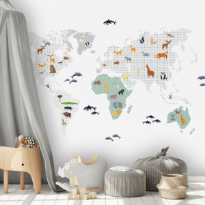 Daring Walls Muurstickers World Map animals - green