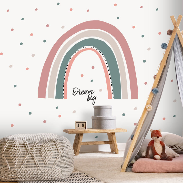 Daring Walls Muurstickers Rainbow with dots - pink/ grey
