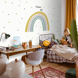 Daring Walls Muurstickers Rainbow with dots - yellow/ green