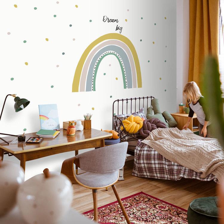 Daring Walls Muurstickers Rainbow with dots - yellow/ green