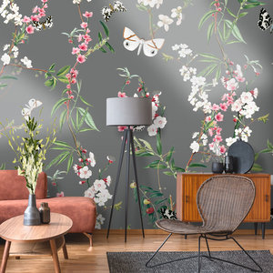 Daring Walls Behang Springtime dark grey