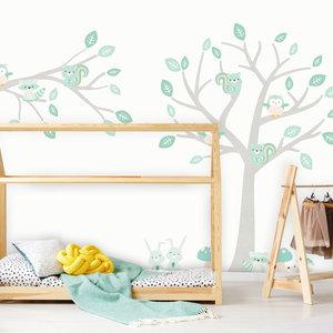 Daring Walls Muursticker Boom & Tak Woodland mint
