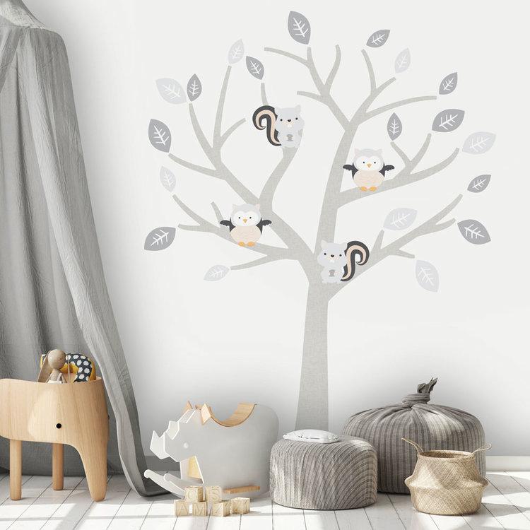 Daring Walls Muursticker Boom Baby Woodland grey
