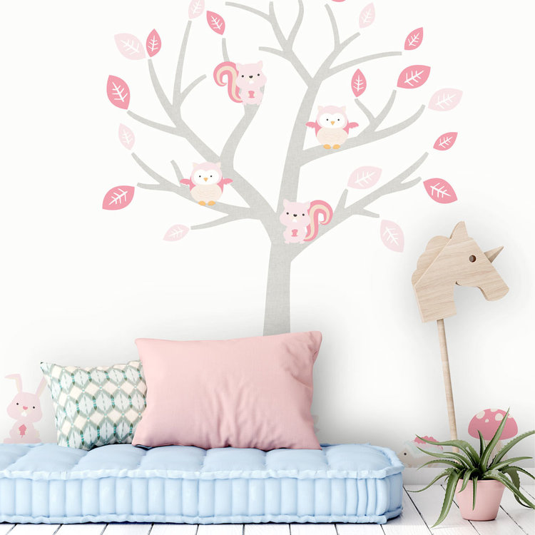 Daring Walls Muursticker Boom Baby Woodland pink