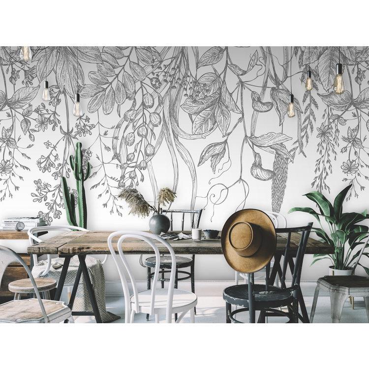 Daring Walls Behang Wild Flowers grey