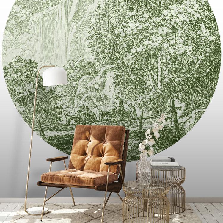 Daring Walls Behangcirkel Old Landscapes 1- green