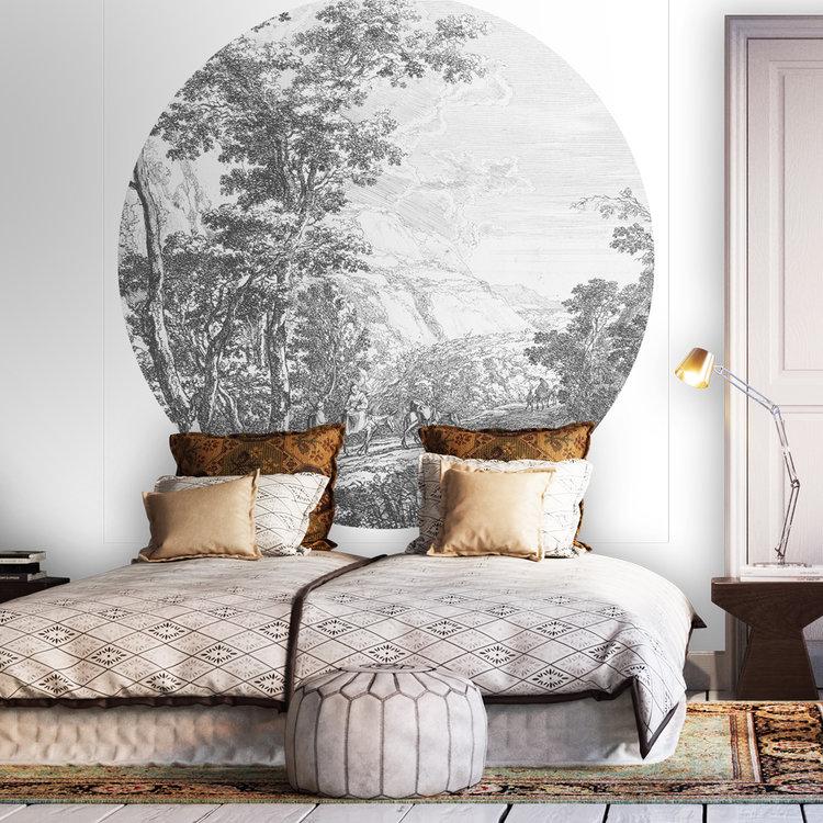 Daring Walls Behangcirkel Old Landscapes 2- grey