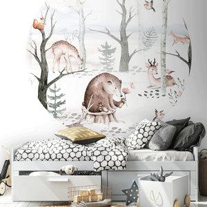 Daring Walls Wallpaper Circle Watercolor Forest friends - light gray