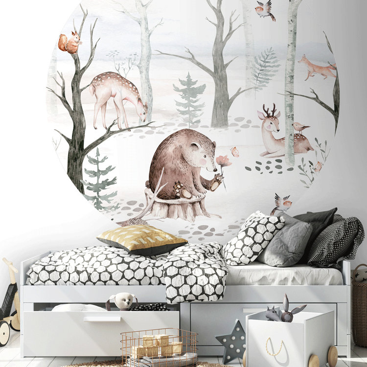 Daring Walls Behangcirkel Watercolor Forest friends - light grey