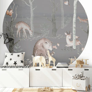 Daring Walls Behangcirkel Watercolor Forest friends - dark grey