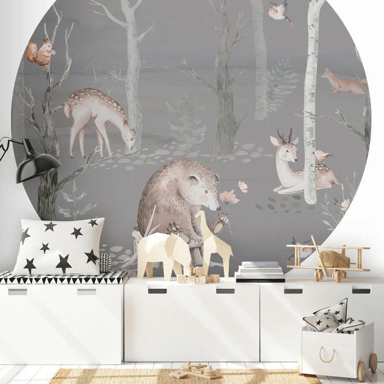 Daring Walls Behangcirkel Watercolor Forest friends - dark grey