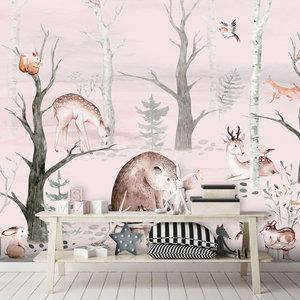 Daring Walls Kinderbehang Watercolor Forest Friends pink