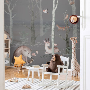 Daring Walls Kinderbehang Watercolor Forest Friends dark grey