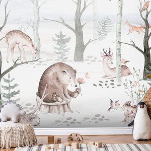 Daring Walls Children's Wallpaper Watercolor Forest Friends light gray