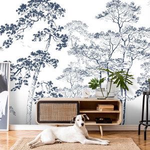 Daring Walls Wallpaper Forest sketch - blue