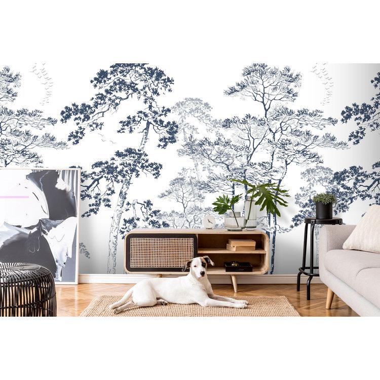 Daring Walls Behang Forest sketch - blue