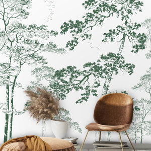 Daring Walls Behang Forest sketch - green