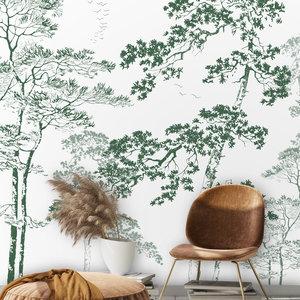 Daring Walls Wallpaper Forest sketch - green