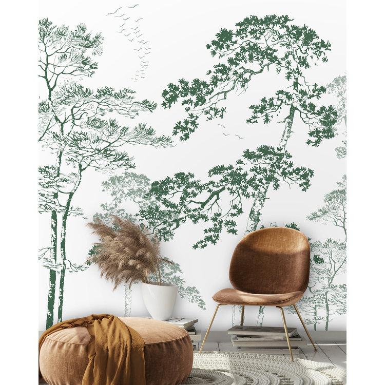 Daring Walls Behang Forest sketch - green
