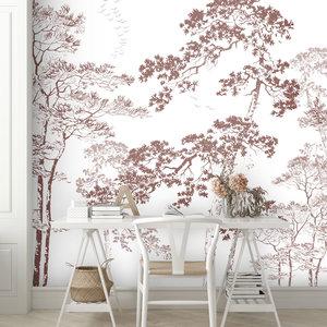 Daring Walls Wallpaper Forest sketch - old pink