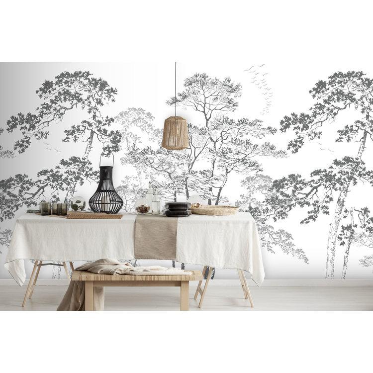 Daring Walls Wallpaper Forest sketch - gray