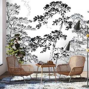 Daring Walls Wallpaper Forest sketch - black