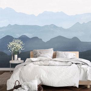 Daring Walls Behang Mountains in fog - dark blue