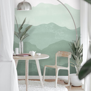 Daring Walls Behang Mountains in fog - soft green