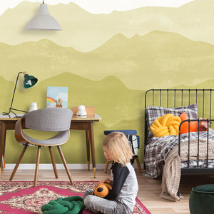Daring Walls Behang Mountains in fog - mustard