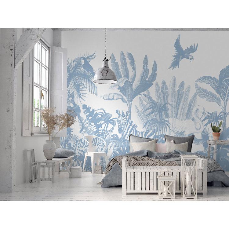 Daring Walls Behang Jungle uni - blue