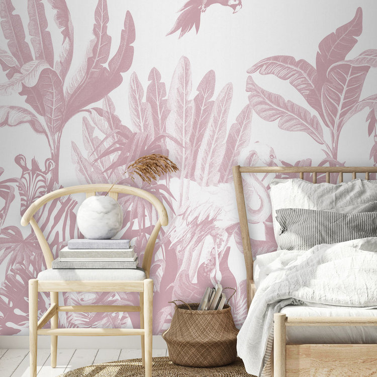 Daring Walls Behang Jungle uni - pink