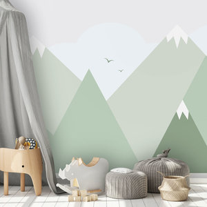 Daring Walls Behang Mountains with snow - green