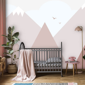 Daring Walls Wallpaper Mountains with snow - old pink