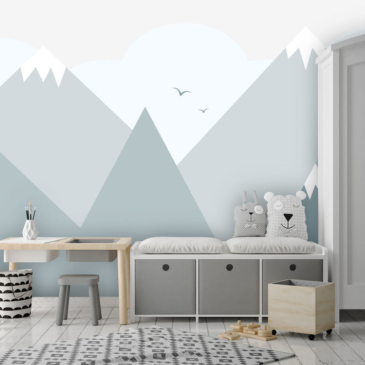 Daring Walls Behang Mountains with snow - blue/grey