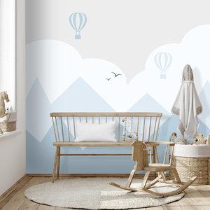 Daring Walls Behang Bergen en luchtballonnen - blue