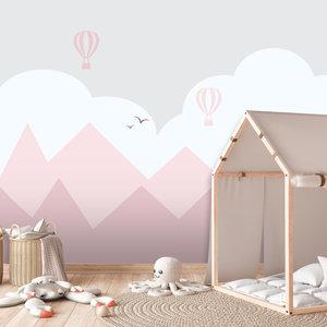 Daring Walls Behang Bergen en luchtballonnen - pink