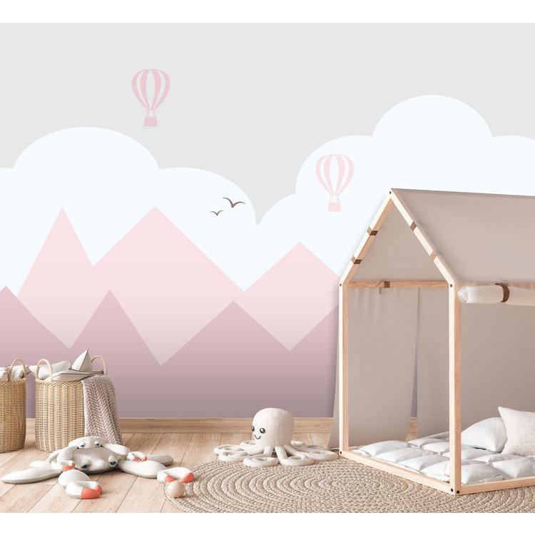 Daring Walls Behang Mountains & balloons - pink