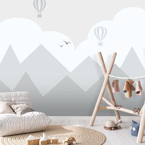 Daring Walls Behang Bergen en luchtballonnen - grey