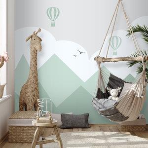 Daring Walls Behang Bergen en luchtballonnen - green