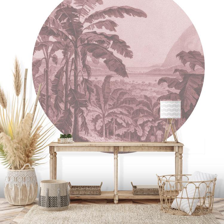 Daring Walls Behangcirkel African landscape- pink