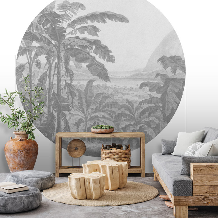 Daring Walls Behangcirkel African landscape - light grey