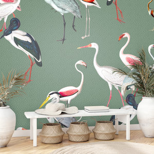 Daring Walls Behang Royal cranes - green