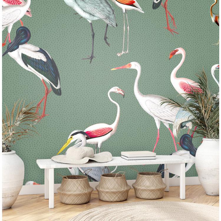 Daring Walls Behang Royal cranes - green