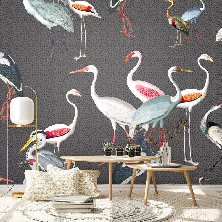 Daring Walls Behang Royal cranes - grey